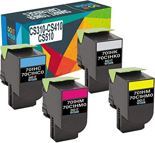 Do it Wiser Compatible Toner Cartridge Replacement for Lexmark CS310dn CS410dn CS310n CS310 CS510de CS410n CS410dtn CS510dte - 70C1HK0 70C1HC0 70C1HM0 70C1HY0 (High Yield, 4 Pack)