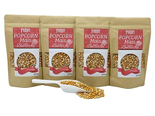 Popcorn Mais Butterfly 4 x 500g inkl. Dosierschaufel | Gourmet Qualität Kinopopcorn für Popcornmaschine | Vegan Glutenfrei und besonders zart und luftig