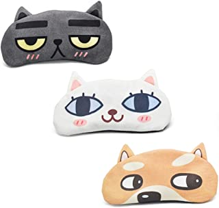 Cute Sleep Eye Mask for Sleeping Cartoon Super Soft and Lightweight Eye Cover Blindfold Eyeshade for Men Women and Kid, 3 Pack