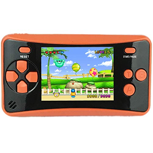 HigoKids Handheld Game Console for Kids Portable Retro Video Game Player Built-in 182 Classic Games 2.5 inches LCD Screen Family Recreation Arcade Gaming System Birthday Present for Children-Orange