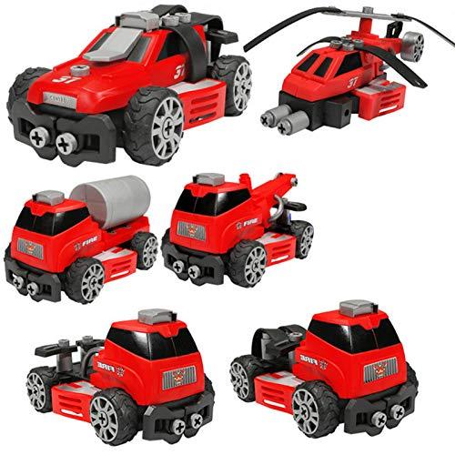 AchidistviQ Juego de juguetes de construcción con herramientas para montaje de 5/6/7 unidades, STEM para vehículos de construcción, camiones, regalos para niños y niñas, color rojo