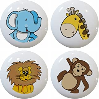 Carolina Hardware and Decor 1255 Zoo Jungle Safari Animal Head Ceramic Cabinet Drawer Knobs, Set of 4