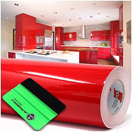 (2,62€/m²) 10m x 63cm Plotterfolie + Rakel Hochglanz Glanz oder Matt Klebefolie Möbelfolie Küchenfolie Badfolie Dekofolie (031 Rot, Glanz)