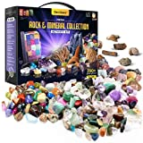 Rock Collection for Kids. Includes 250+ Gemstones, Crystals, Fossil, Rocks and Mineral + Jumbo Learning Mat. Science Gift for Boys & Girls - 2 Lbs. Bulk Rough & Polished Gem Stones + Genuine Fossils