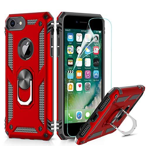 LeYi für iPhone SE 2020 Hülle,iPhone 7/8 Handyhülle,iPhone 6/6S Ringhalter Schutzhülle mit Schutzfolie,360 Ständer Rüstung Cover TPU Bumper für Case Apple iPhone 6/6S /7/8 Handy Hüllen Rot