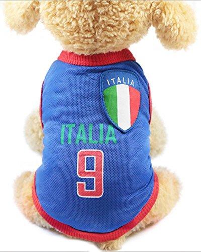 GabeFish Hunde-T-Shirt für die Weltmeisterschaft für Haustiere, Fußball-Trikot, Sport, Fußball-Nationalmannschaft, Weste, Katze, Sommer, coole Kleidung, Kleidung, Italien, XXL