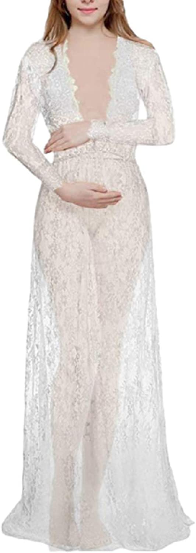 KMGT Sexy Deep VNeck White Maternity Long Sleeve Tight Tail Long Lace Dress Women