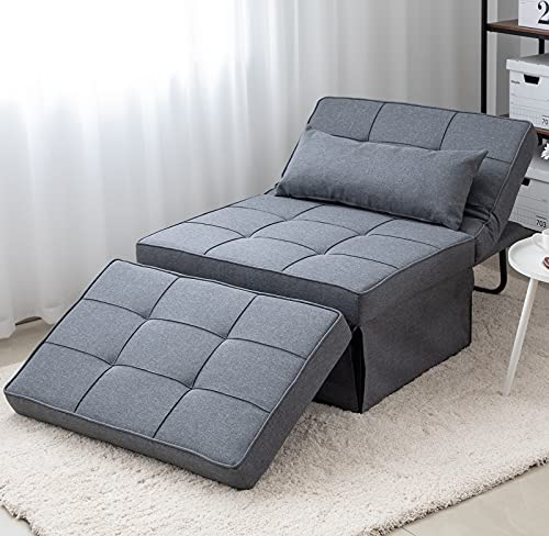 Folding Ottoman Sofa Bed, Convertible Chair 4 in 1 Multi-Function Modern Breathable Linen Guest Bed with 5 Position Adjustable Backrest (Light Grey)