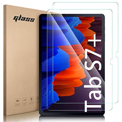 Lanhiem Vetro Samsung Tab S7 Plus (12.4 Pollici),Vetro Temperato Samsung Tab S7 Plus Senza Bolle,Durezza 9H,Ultra Resistente,Pellicola Temperata Compatibile con Cover Samsung Tab S7 Plus [2 Pezzi]