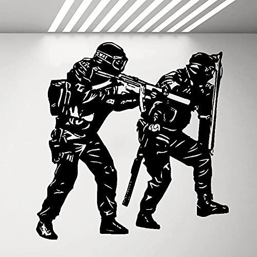 REGF Policía SWAT Etiqueta de la Pared Commando Soldado Vinilo calcomanía ejército Pegatinas Dormitorio Sala de Estar decoración Militar niños Arte Mural
