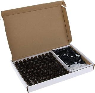 Baoblaze Set van 100 Kleine Lege Glazen Flessen Amber Glazen Fles Etherische Olieflessen met Draagbare Organizer - 1 ml