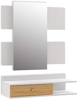 Mc Haus VALKO - Recibidor con Espejo diseño Nórdico de madera MDF color blanco Mueble recibidor para colgar en la Pared c...