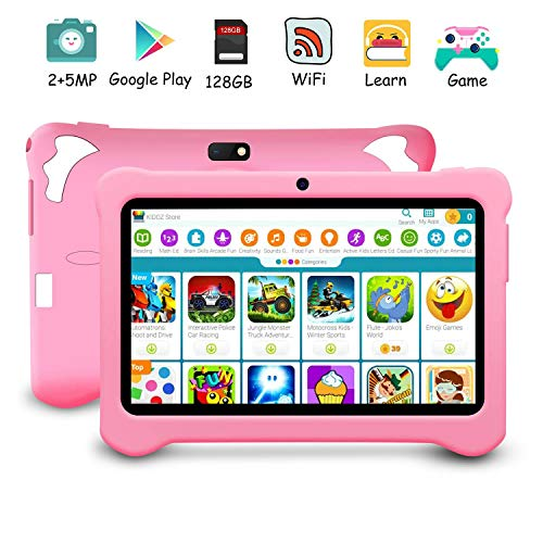 Kids Tablet, Android 9.0 Pie Tablets, 3GB RAM 32GB ROM, 7 inch HD IPS Display, Google GMS Certified, WiFi, Type-C, Dual Camera, Bluetooth, FM, GPS, OTG, Tablet for Kids (Pink)