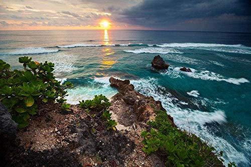 votgl Puzzle per Adulti 500 Pezzi - Indonesia Coast Waves Albe e tramonti Horizon Jigsaw Puzzle per Adulti,Famiglie e Bambini.Decorazione Domestica del Giocattolo del Gioco educativo (52x38cm)