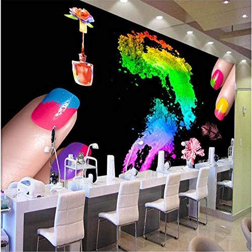 Noir Créatif Vernis À Ongles Nail Shop Fond Mur Personnalisé Grande Murale Vert Papier Peint En Soie-150 * 105Cm
