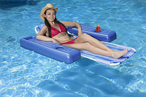 Poolmaster Swimming Pool Adjustable Floating Chaise Lounge, Caribbean, Blue Stripe