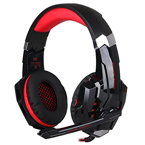 KOTION EACH G9000 3.5mm Cuffie Gamer Auricolare con Mic Luce LED per iPhone iPad Samsung PC Tablet(Nero+Rosso)