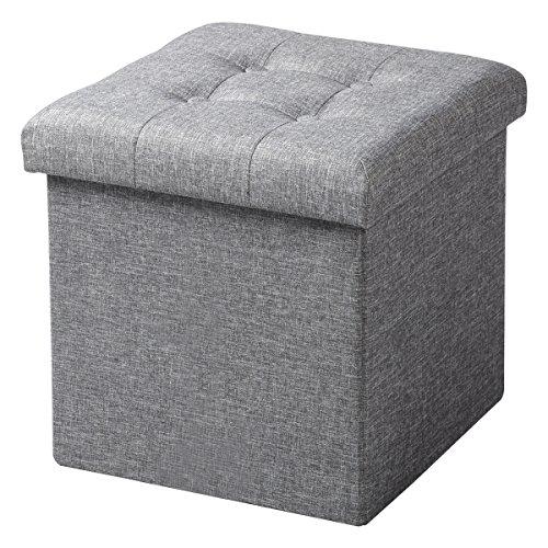 WOLTU® Sitzhocker mit Stauraum Sitzwürfel Sitzbank faltbar Truhen Aufbewahrungsbox, Deckel abnehmbar, Gepolsterte Sitzfläche aus Leinen, 37,5x37,5x38CM(LxBxH), Hellgrau, SH06hgr-1