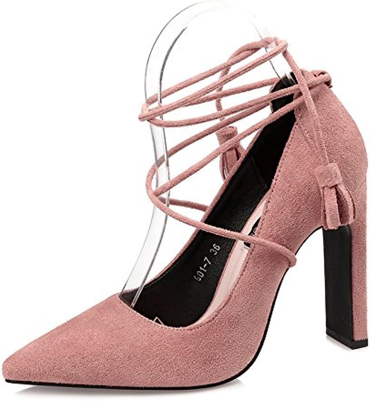 FLYRCX Herbst und Winter European Fashion scharfe High Heels High Heel Schuhe Sex sexy Damen Schuhe Flache Quaste Partei