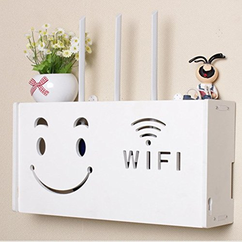 yazi Wifi Router Shelf TV Set-top Rack Wall Hanging Formaldehyde-free Storage Box Cat House Smiling Face Large