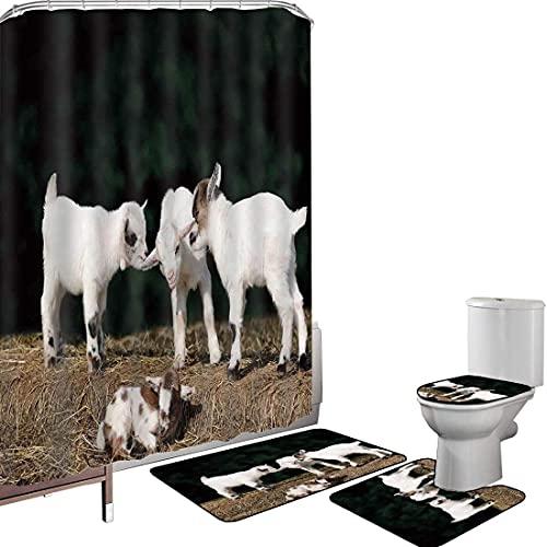 Juego de cortinas baño Accesorios baño alfombras Animal Alfombrilla baño Alfombra contorno...