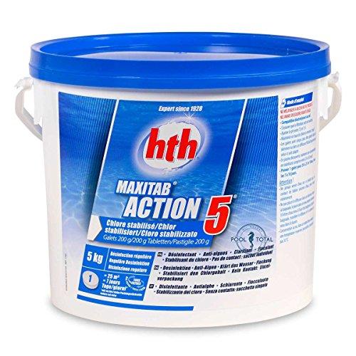 HTH 200g Multifunktions Chlortabletten 5,0 kg Eimer - 5 Wirkungen in einem Produkt