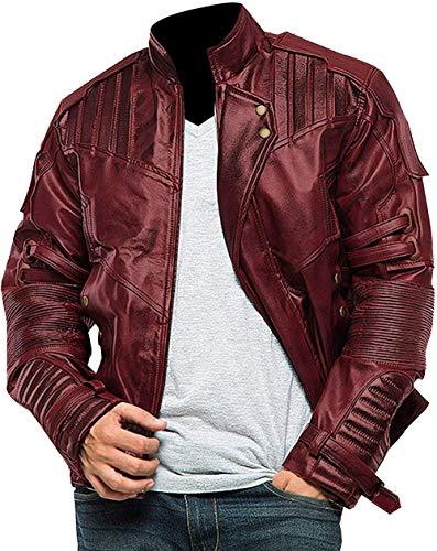 Red Biker Leather Jacket Mens - Distressed Maroon Leather Jacket for Motorcycle Cosplay Costume chamarras para Mujer