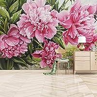 カスタム写真手描きピンク牡丹の花装飾壁壁画リビングルーム寝室油絵壁紙-400x280cm