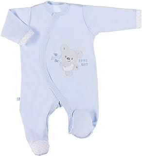 Eevi Newborn Baby Strampler - Mädchen Jungen Unisex - Langarm - Baumwolle - Strickerei - Füßchen
