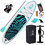 ACOTop Inflatable Stand Up Paddle Board, 10'6' ×33' × 6' Sup for All Skill Levels Inflatable Paddle Boards, Non-Slip Deck, Double Action Pump, Waterproof Bag for Youth & Adult & Kids, Blue