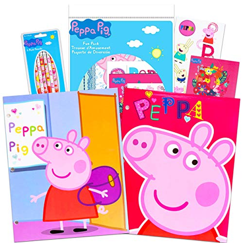 Peppa Pig School Supplies Super Set ~ Peppa Pig Folders, Pencils, Stickers, Tattoos, Posters, and More (Peppa Pig Party Supplies Bundle)