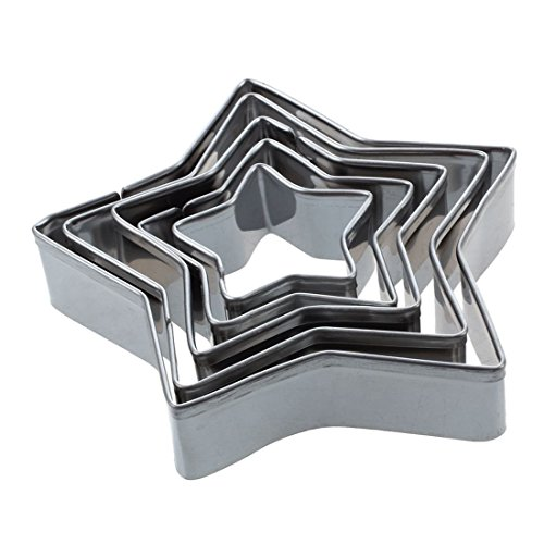 SODIAL(R) 5 pzs Cortador de galletas de aluminio de acero aleado Molde de torta de estrellas Plata
