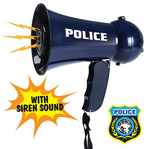 Liberty Imports Police Officer Pretend Play Kids Toy Megaphone Role Play Accessory with Siren Sounds for Kids