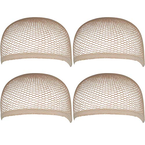 SKYPIA 4Pcs Stretchy Breathable Hairnets Elastic Nylon Mesh Net Caps for Wig (Beige)