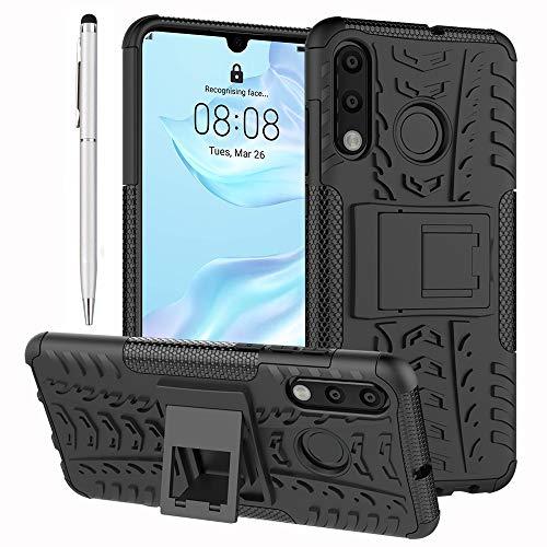 Ash-case 2in1 Set di Accessori: Custodia Esterna Ibrida per Huawei P30 Lite - Custodia Rigida in Silicone per TPU Custodia Rigida per Cellulare Nera(#2) + 1 x Pennino per Touch Screen Argento