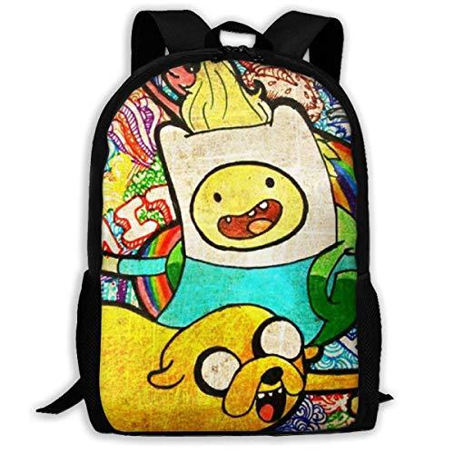 JNMJK Unisex-Rucksack für Erwachsene mit hoher Kapazität Finn Jake Adventure Time Büchertasche Reisetasche Schultaschen Laptoptasche