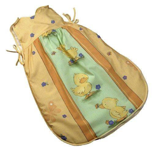 Kindertraum 6706001840060 - Ballonschlafsack Streifen mit Enten, Größe 60, gelb