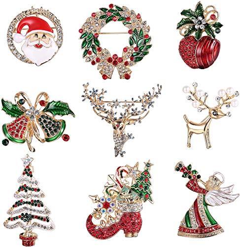 YADOCA 9 Stücke Weihnachtsbroschen Set mit Strass Kristall Weihnachtsschmuck Geschenk für Frauen Mädchen