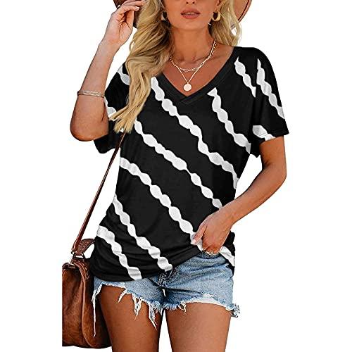 Rouped Camiseta Cuello V Mujer Oversize Larga Camisetas Manga Corta Escote V...