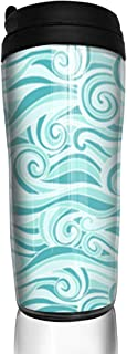 Travel Coffee Mug Ocean Waves Aqua Water Bottle Environmental Protection Material ABS 12 Oz Spill Proof Flip Lid