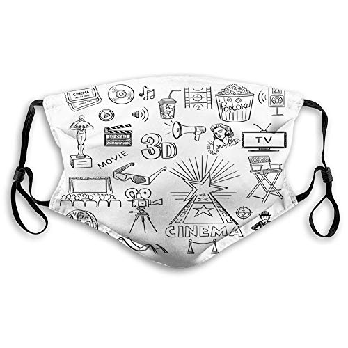 Fillter Cloth For teens Hand Drawn of Hollywood Oscar 3D Glasses Sketch Style Arrangement Reusable Windproof Cloth Half Face Double Protection