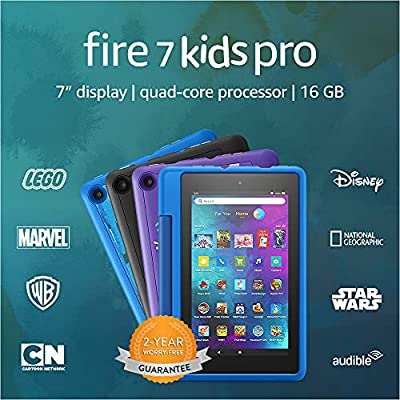 """Fire 7 Kids Pro tablet, 7"""" display, ages 6+, 16 GB, Doodle"""