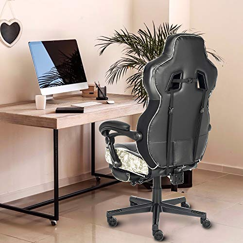 ELECWISH Gaming Chair Ergonomic High Back Racing Style with Adjustable Armrest and Retractible Footrest PU Leather Back Recliner Swivel Rocker Office Chair(2020) Camouflage Gray