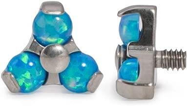 Painful Pleasures 14g–12g Internally Threaded Titanium Opal Trinity Top — Price Per 1