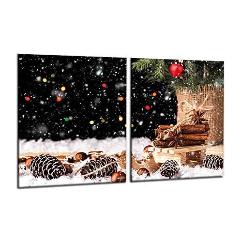decorwelt | Herdabdeckplatten 2x40x52 cm 2-Teilig Weihnachten Bunt Ceranfeld Universal Spritzschutz Glas Deko Elektroherd Induktion für Kochplatten Herdschutz Schneidebrett Sicherheitsglas