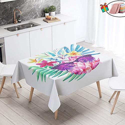 Morbuy Nappes Rectangulaires Anti Taches, 3D Imprimé Nappe Carrée Imperméable Anti-Salissure Étanche à l'huile Lavable pour Ménage Cuisine Jardin Picnic Exterieur (Violet Papillon,140x140cm)