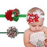 3 Pack Baby Christmas Headband Elastic Feather Bowknot Hair Band Fits for Baby Toddler Newborn