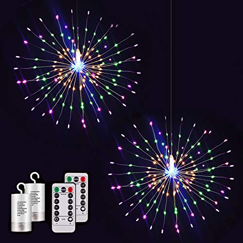 Tiandirenhe Fairy Firework String Lights, 2 Pack 200 Led Starry Starburst Lights , Copper Wire String Fairy Lights, 8 Modes Dimmable Lights with Remote for Garden Party Indoor Outdoor(Multicolor)