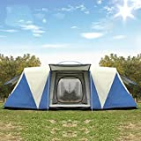 ZXCVBW Oversized 8-12 people double waterproof strong camping tent family tent tent party three room...