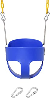 Take Me Away High Back Full Bucket Toddler Swing Seat with Yellow Coated Swing Chains Fully Assembled - Heavy-Duty Swing (Blue)